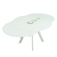 ECLIPSE Extendable Dining Table Round 120/155/190 cm Matt White Glass top & Matt White Legs