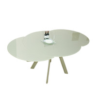 ECLIPSE Extendable Dining Table Round 120/155/190 cm  Champagne Glass top & Chrome Legs