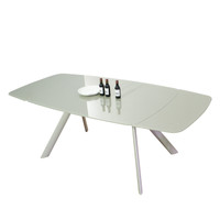 STADIUM Extendable Dining Table140/175/210 cm Champagne Glass top&Legs