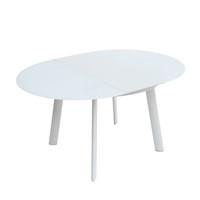 HALO Extendable Dining Table Round 120/158 cm Bright White Glass & Matt white legs