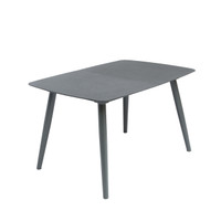 DECK Extendable Dining Table 130/170/210 cm Black sand Textured finish Glass top & Deep Grey Legs