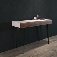 BRANDO Console White Gloss With Walnut Fronts