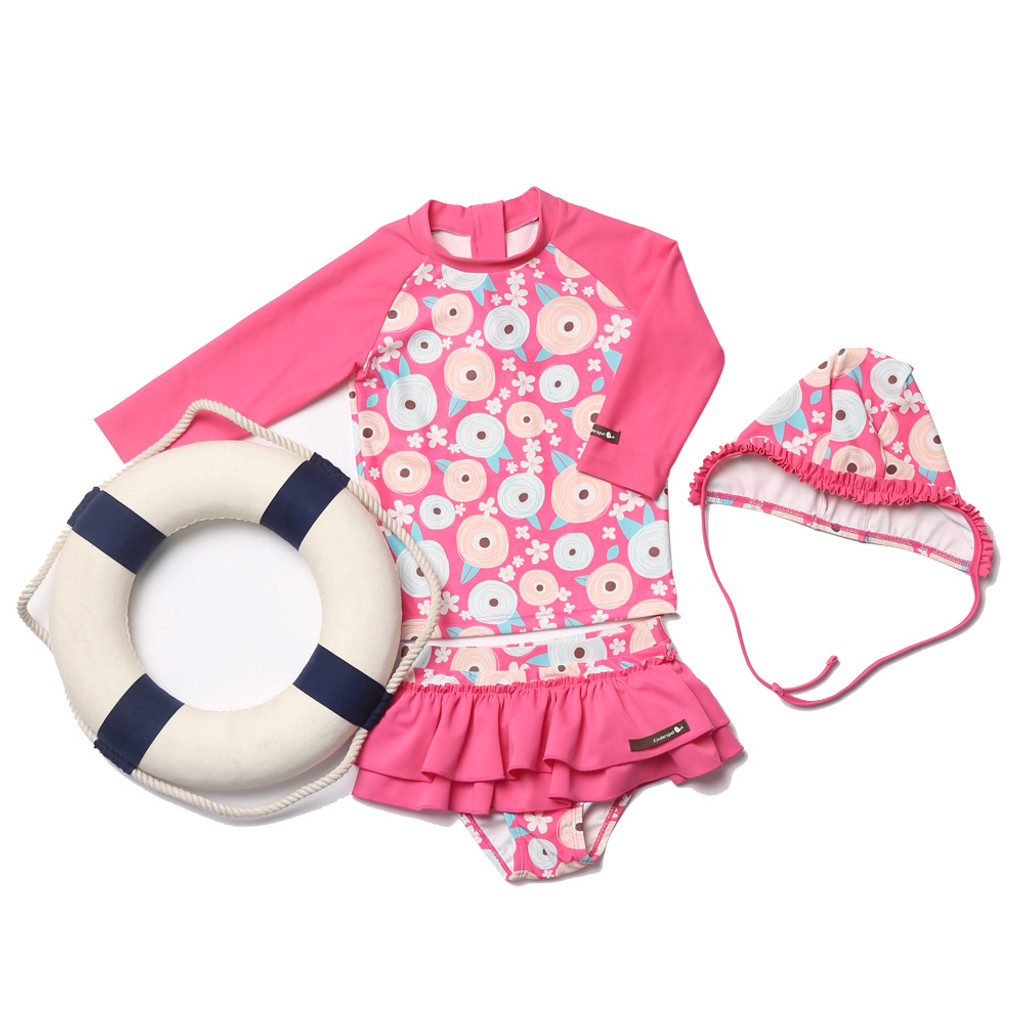 THREE-PIECE RASHGUARD SWIMSUIT - CONFETTI FLOWER