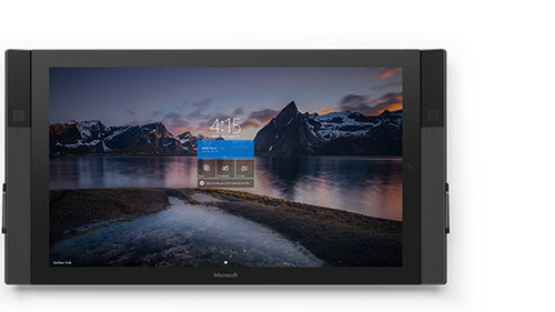 Integrated solution. Microsoft Surface Hub apps take advantage of the large screen, touch and ink input, and onboard hardware like cameras and sensors.