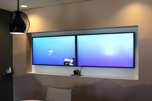 Recessed Dual Monitor System with Cisco Camera