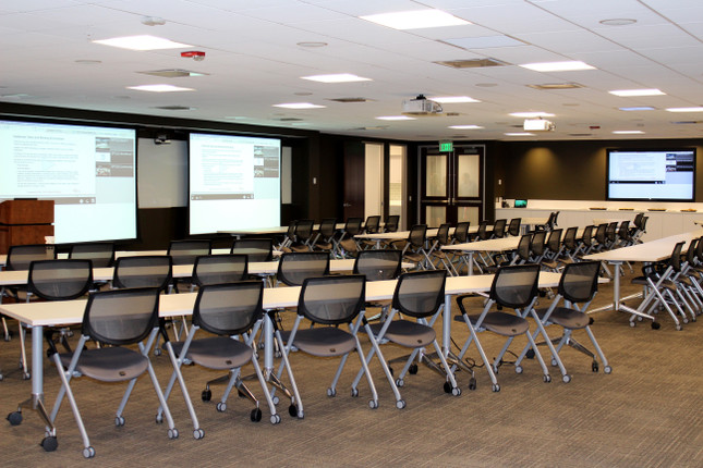 Large training room with dual projectors and large format display