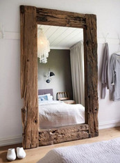 Large Lean To Full Length Rustic Wood Mirror