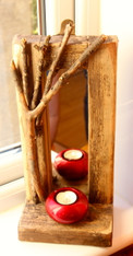 Beached Candle shelf  Driftwood mirror