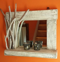 Whitewashed Driftwood Mirror With Deep Shelf and Decorated Frame