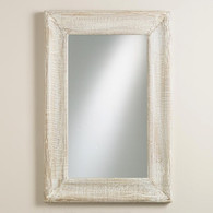 Distressed Whitewash Framed Mirror