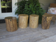 Hardwood tree trunk table stool