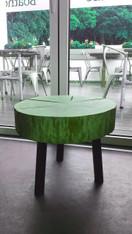 Oak Log Slice Tripod Table