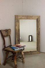 Very large rustic distressed Farmhouse wide frame wooden mirror reclaimed wood