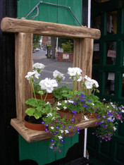 Driftwood Garden Wall mirror with Plant Holder