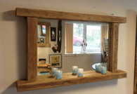 Reclaimed rustic wood farmhouse country style mirror with  shelf