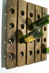 Rustic Wall Mounted Riddling wine rack hand made with reclaimed character wood
