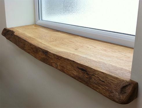 Custom waney edge oak window boards sill for Appui de fenetre leroy merlin