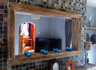 Reclaimed Wooden Mirror with Tea light shelf