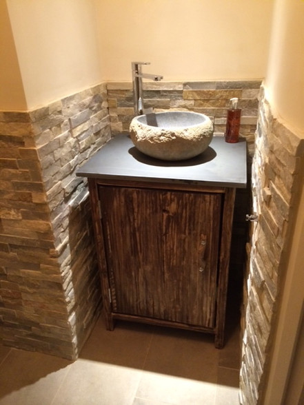 Slate Top Driftwood Wash Stand Vanity Unit Driftwood
