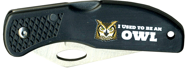 Wood Badge Owl Critter Head Lockback Knife
