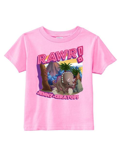 Pink Dinosaur Rawr toddler tee