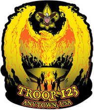 Custom Boy Scout Troop Camp Fire Phoenix Car Sticker (SP5428)