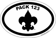 Custom Cub Scout Pack Oval Large Fleur De Lis Car Sticker (SP5423)