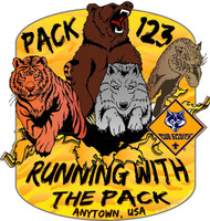 Custom Cub Scout Pack Running with the Pack Car Sticker (SP5419)