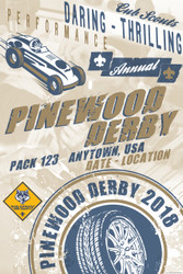 Custom Cub Scout Pack Pinewood Derby Poster -  Retro Car (SP4653)