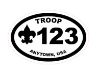 Custom Boy Scout Troop Oval Car Sticker (SP4624)