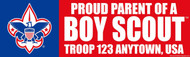 Custom Proud Parent of a Boy Scout Bumper Sticker - Troop (SP4616)
