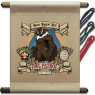 Custom Wood Badge Owl Patrol Mini Flag - Mighty
