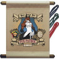 Custom Wood Badge Fox Patrol Mini Flag - Mighty