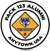 Custom Cub Scout Pack Alumni Car Sticker with Color Logo (SP5489)