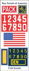 Cub Pack/Den Numbers  26 Sticker Sheet