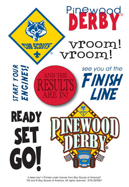 Cub Scout Pinewood Derby Sticker Sheet