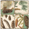 Pinecone Botanical Coaster Set.  Handmade Marble Giftware by Studio Vertu.