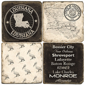 Louisiana Coaster Set. Handmade Marble Giftware by Studio Vertu.
