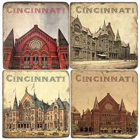 Cincinnati Music Hall Coaster Set.  Handmade Marble Giftware by Studio Vertu.