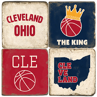 Cleveland Ohio Coaster Set.  Handmade Marble Giftware by Studio Vertu.