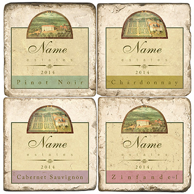 Vineyard Name Drop Coaster Set.  Handmade Marble Giftware by Studio Vertu.