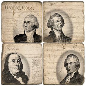 Founding Fathers Coaters Set.  Handmade Marble Giftware by Studio Vertu.