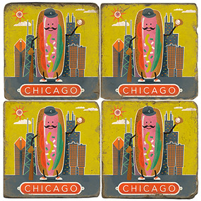 Chicago, Illinois Coaster Set.  Handmade Marble Giftware by Studio Vertu.