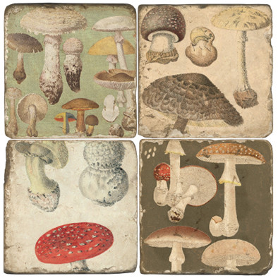 Mushroom Coaster Set.  Handmade Marble Giftware by Studio Vertu.