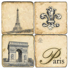 Retro Paris Coaster Set. Handmade Marble Giftware by Studio Vertu.
