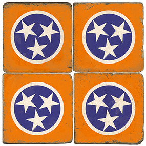 Tennessee Flag Coater Set. Hand Made Marble Giftware by Studio Vertu.