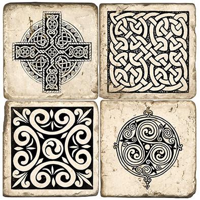 Black & White Celtic Knot Coaster Set. Handmade Marble Giftware by Studio Vertu.