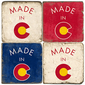 Made in Colorado Coaster Set. Handmande Marble Giftware by Studio Vertu.