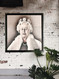 Queen Elizabeth II portrait on 9 tumbled Italian marble tiles.  Mounted on a black wood frame. Handcrafted Marble Giftware by Studio Vertu.