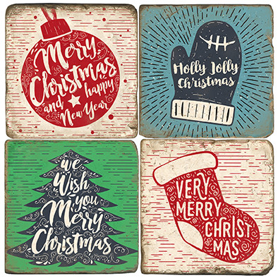 Woodcut Christmas Coaster Set. Handmade Marble Giftware by Studio Vertu.